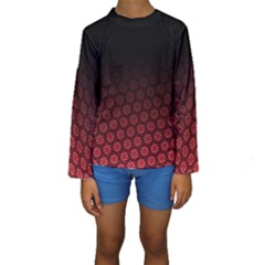 Ombre Black And Red Passion Floral Pattern Kids  Long Sleeve Swimwear by DanaeStudio