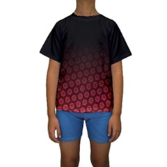 Ombre Black And Red Passion Floral Pattern Kids  Short Sleeve Swimwear