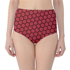Red Passion Floral Pattern High Waist Bikini Bottoms