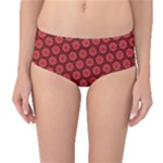 Red Passion Floral Pattern Mid-Waist Bikini Bottoms