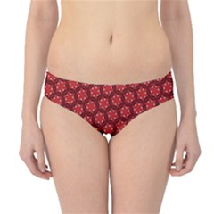 Red Passion Floral Pattern Hipster Bikini Bottoms