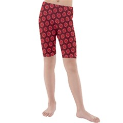 Red Passion Floral Pattern Kids  Mid Length Swim Shorts by DanaeStudio