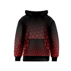 Ombre Black And Red Passion Floral Pattern Kids  Pullover Hoodie