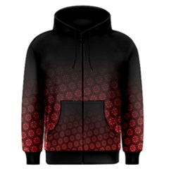 Ombre Black And Red Passion Floral Pattern Men s Zipper Hoodie