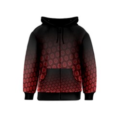 Ombre Black And Red Passion Floral Pattern Kids  Zipper Hoodie by DanaeStudio