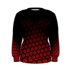 Ombre Black And Red Passion Floral Pattern Women s Sweatshirt by DanaeStudio