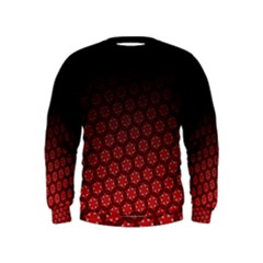 Ombre Black And Red Passion Floral Pattern Kids  Sweatshirt by DanaeStudio