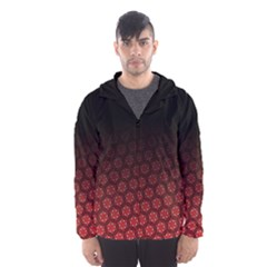 Ombre Black And Red Passion Floral Pattern Hooded Wind Breaker (men)