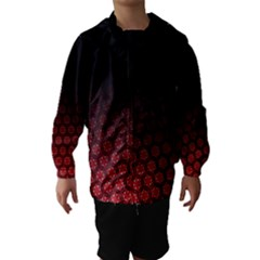Ombre Black And Red Passion Floral Pattern Hooded Wind Breaker (kids) by DanaeStudio