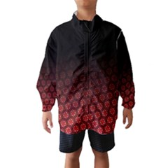 Ombre Black And Red Passion Floral Pattern Wind Breaker (kids) by DanaeStudio