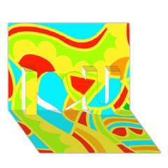 Colorful Decor I Love You 3d Greeting Card (7x5)