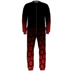 Ombre Black And Red Passion Floral Pattern Onepiece Jumpsuit (men) by DanaeStudio