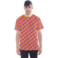 Vibrant Retro Diamond Pattern Men s Sport Mesh Tee