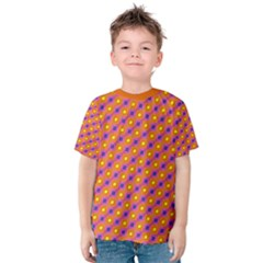 Vibrant Retro Diamond Pattern Kids  Cotton Tee by DanaeStudio