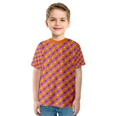 Vibrant Retro Diamond Pattern Kids  Sport Mesh Tee