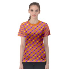 Vibrant Retro Diamond Pattern Women s Sport Mesh Tee