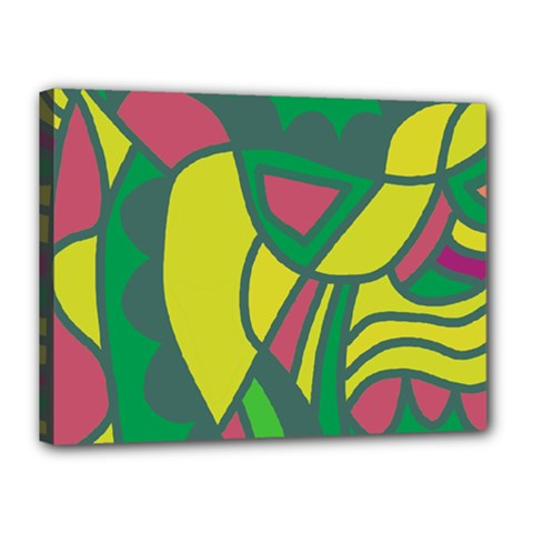 Green Abstract Decor Canvas 16  X 12  by Valentinaart