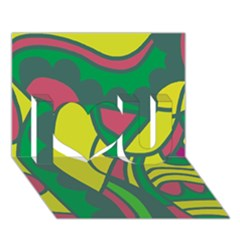 Green Abstract Decor I Love You 3d Greeting Card (7x5)