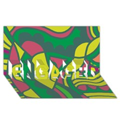 Green Abstract Decor Engaged 3d Greeting Card (8x4) by Valentinaart
