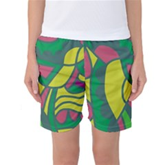 Green abstract decor Women s Basketball Shorts by Valentinaart