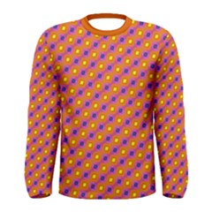 Vibrant Retro Diamond Pattern Men s Long Sleeve Tee