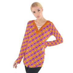 Vibrant Retro Diamond Pattern Women s Tie Up Tee