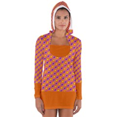 Vibrant Retro Diamond Pattern Women s Long Sleeve Hooded T-shirt