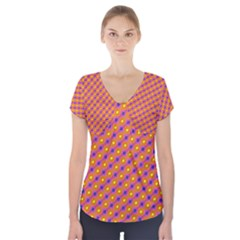 Vibrant Retro Diamond Pattern Short Sleeve Front Detail Top