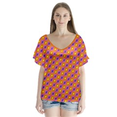 Vibrant Retro Diamond Pattern V Neck Flutter Sleeve Top