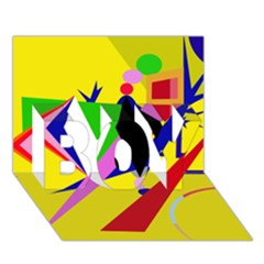 Yellow Abstraction Boy 3d Greeting Card (7x5) by Valentinaart