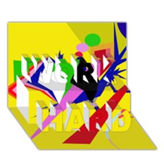Yellow Abstraction Work Hard 3d Greeting Card (7x5) by Valentinaart