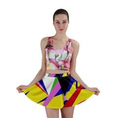 Yellow Abstraction Mini Skirt by Valentinaart