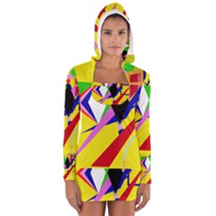 Yellow Abstraction Women s Long Sleeve Hooded T Shirt by Valentinaart