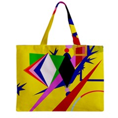 Yellow Abstraction Medium Zipper Tote Bag by Valentinaart