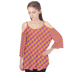 Vibrant Retro Diamond Pattern Flutter Sleeve Tee