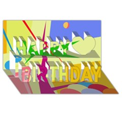 Colorful Abstract Art Happy Birthday 3d Greeting Card (8x4) by Valentinaart