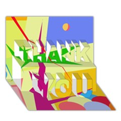 Colorful Abstract Art Thank You 3d Greeting Card (7x5) by Valentinaart