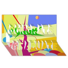 Colorful Abstract Art Congrats Graduate 3d Greeting Card (8x4) by Valentinaart