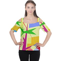 Colorful Abstract Art Women s Cutout Shoulder Tee by Valentinaart