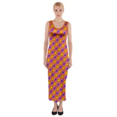 Vibrant Retro Diamond Pattern Fitted Maxi Dress