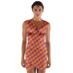 Vibrant Retro Diamond Pattern Wrap Front Bodycon Dress