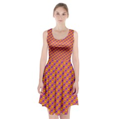 Vibrant Retro Diamond Pattern Racerback Midi Dress