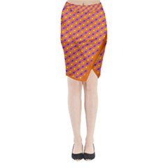 Vibrant Retro Diamond Pattern Midi Wrap Pencil Skirt