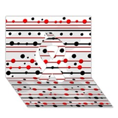 Dots And Lines Ribbon 3d Greeting Card (7x5)