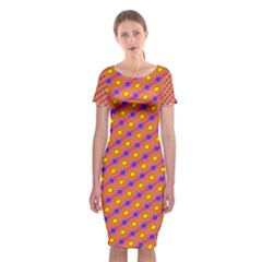 Vibrant Retro Diamond Pattern Classic Short Sleeve Midi Dress
