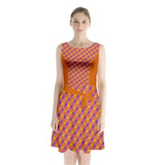 Vibrant Retro Diamond Pattern Sleeveless Chiffon Waist Tie Dress