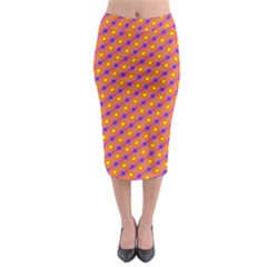 Vibrant Retro Diamond Pattern Midi Pencil Skirt
