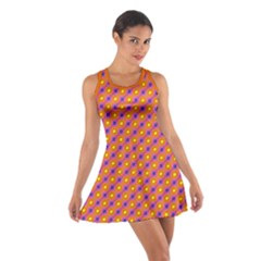 Vibrant Retro Diamond Pattern Cotton Racerback Dress