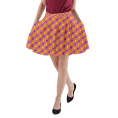 Vibrant Retro Diamond Pattern A Line Pocket Skirt