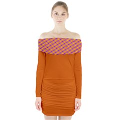 Vibrant Retro Diamond Pattern Long Sleeve Off Shoulder Dress
